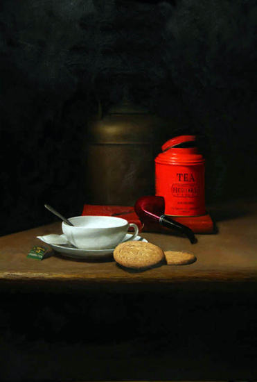 Still life with red and green tea