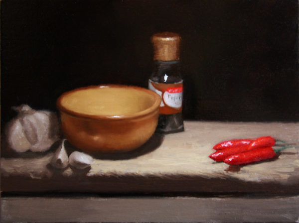 Still life with garlic and pepper