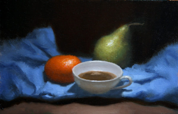 Mandarin, coffee and pear still life