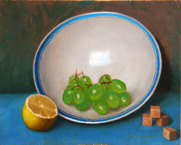 Grapes and lemon
